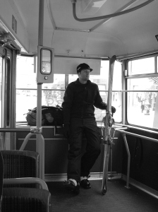 Riding to work on the Strassenbahn (aka skiing).