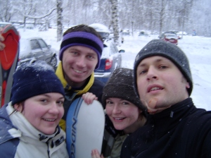Rosi, Tom, Martina and I. (I took a serious crash and cut my chin wide open with the edge of my ski. Later that night a doctor in Linz glued me back together!)