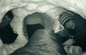 Cort and I in our makeshift snow cave.