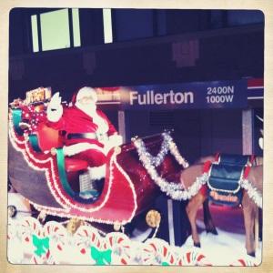 Even Santa takes public transportation.