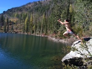 Swimming in a mountain lake in October. Insane!
